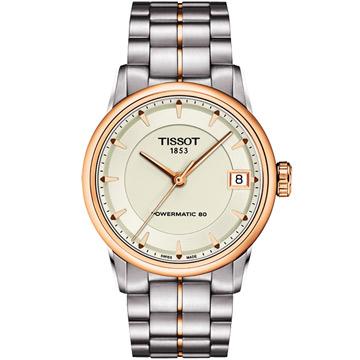 TISSOT 天梭 T-Classic Luxury 機械腕錶 象牙白x玫塊金框 33mm T0862072226101