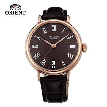 ORIENT 東方錶 ELEGANT 羅馬假期復古機械女錶-咖啡x玫瑰金色框 FER2K001T