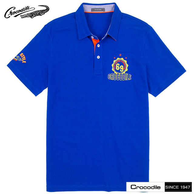 【Crocodile】POLO衫 男款-素面圖騰休閒短袖POLO衫_(藍色)C20G21113-35