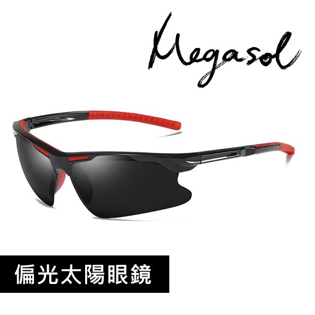 【MEGASOL】UV400防眩偏光太陽眼鏡(運動休閒款S8527-兩色可選)