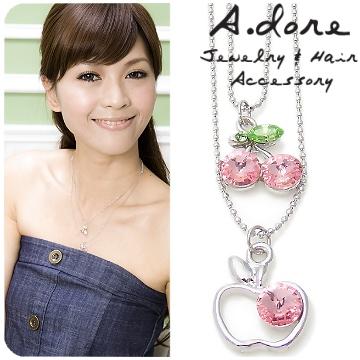 【A.dore】蘋果櫻桃水晶鑽雙圈項鍊 ★甜蜜粉紅