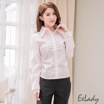 【EE-LADY】OL前襟皺褶條紋長袖襯衫-粉色