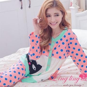 lingling A2927全尺碼-童趣俏麗貓咪貼布圓點哺乳孕婦居家長袖睡衣+長褲成套組(俏麗深粉)