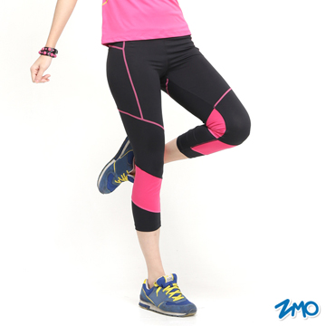【ZMO】女運動透氣彈力七分褲PS462 / 黑色 / MIT台灣製造