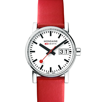 MONDAINE 瑞士國鐵 evo2 時光走廊腕錶 白x紅色錶帶 30mm 30210LC