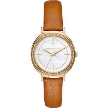 【Michael Kors】MK2712 低調奢華晶鑽時尚腕錶 皮帶 金/蝶貝 35mm