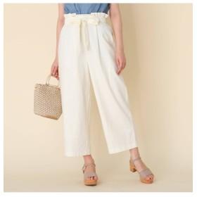 【クチュール ブローチ/Couture brooch】 【洗える】麻レーヨンリボンベルトパンツ