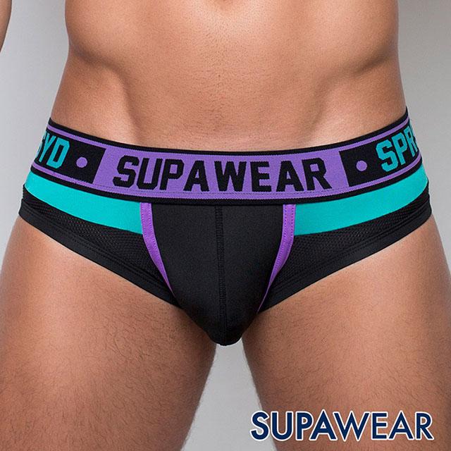 SUPAWEAR 魔鬼終結者-拼接超彈性男三角內褲(紫色)