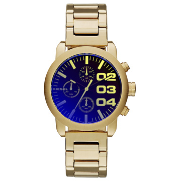 DIESEL 強悍自我時尚三眼計時腕錶-金x鍍膜玻璃