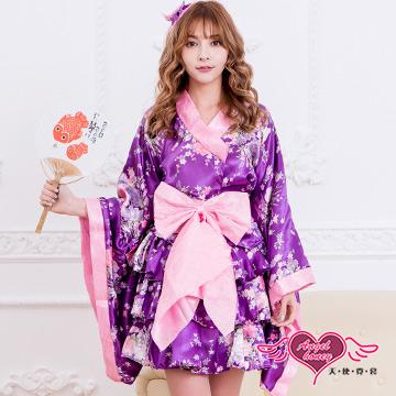 天使霓裳 碎花甜美 層次短裙和服浴衣 角色扮演角色服 (紫粉M.XL)