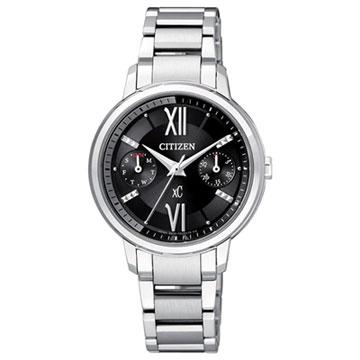 CITIZEN xC系列 夜戀巴黎光動能雙環時尚腕錶(銀黑)