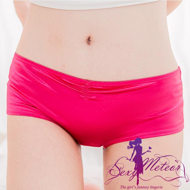 Sexy Meteor A2471全尺碼-簡約亮緞面素面小抓摺低腰三角內褲(亮麗紅桃)