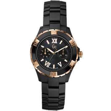 Gc 羅馬舞曲魅力陶瓷時尚腕錶-黑金