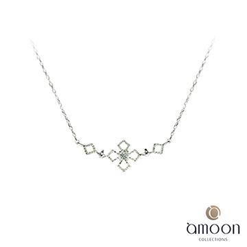 amoon 戀戀東京系列 冰雪 10K金鑽石項鍊-白K金