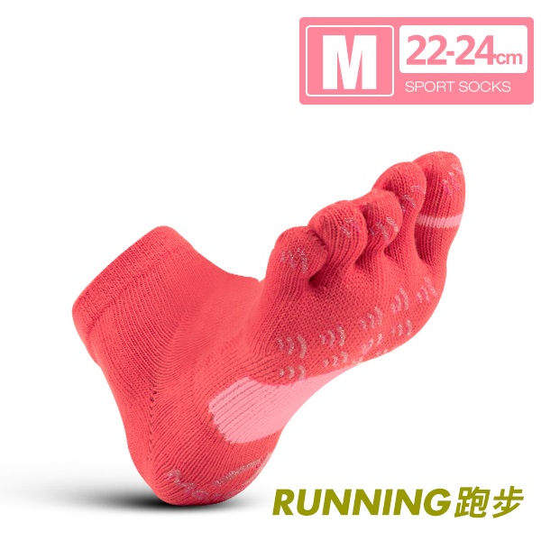 FootSpa-透氣升級方形運動五趾襪(22~24cm)M桃粉