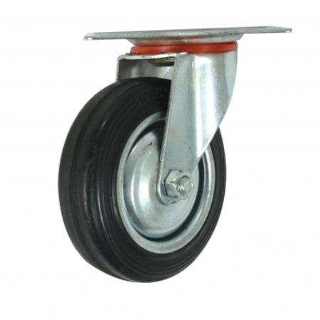 4吋橡膠折疊載物車替換輪-前旋轉輪-40KG