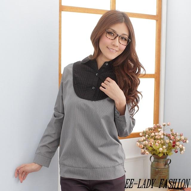 【EE-LADY】中大尺碼直條紋下襬縮口衫