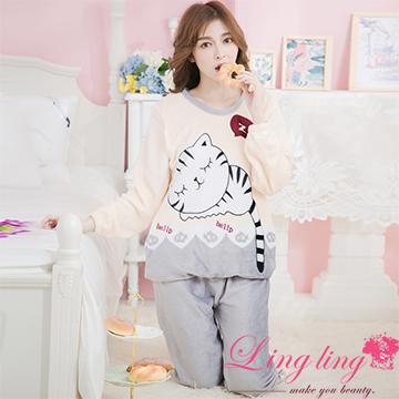 lingling A3545全尺碼-可愛貓咪水貂絨長袖睡衣+長褲(二件式睡衣組)(可愛灰)