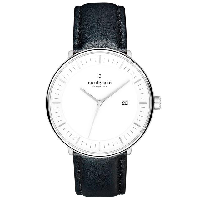 【Nordgreen】Philosopher哲學家x月光銀 極夜黑真皮錶帶腕錶 40mm(PH40SILEBLXX)