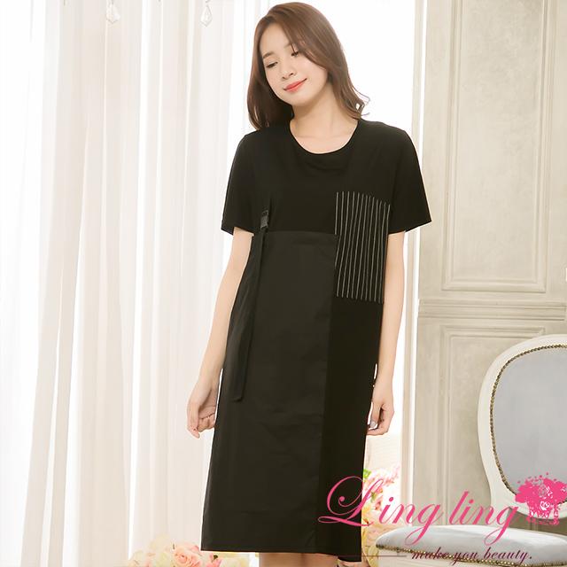 lingling中大尺碼 A4154-01低調韻味條紋拼接色塊短袖連身裙洋裝(低調黑)