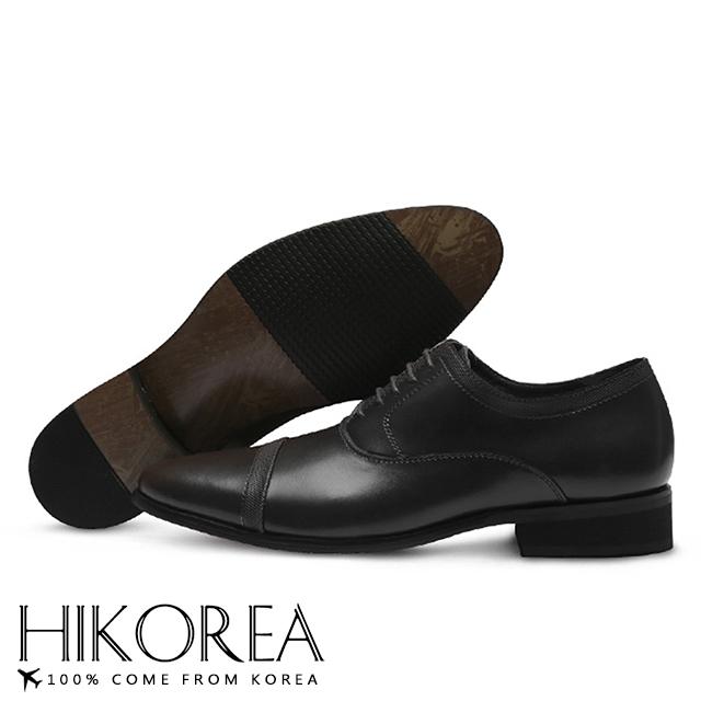 【HIKOREA】韓國空運/版型正常。男款簡約素面壓紋皮革拼接綁帶尖頭紳士皮鞋(73-348黑/現+預)