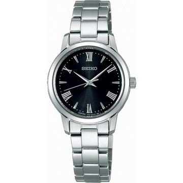 【SEIKO】精工 SPIRIT 太陽能羅馬時標時尚腕錶 STPX051J@V131-0AF0D 黑/銀 27mm