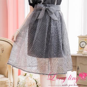 lingling A2252-02韓風氣息腰綁蝶結亮蔥直紋紗裙(典雅灰)