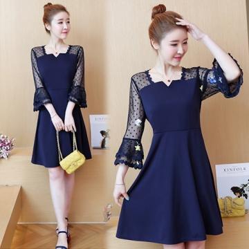 【韓國K.W.】KBN4585 方領透視袖型美感洋裝