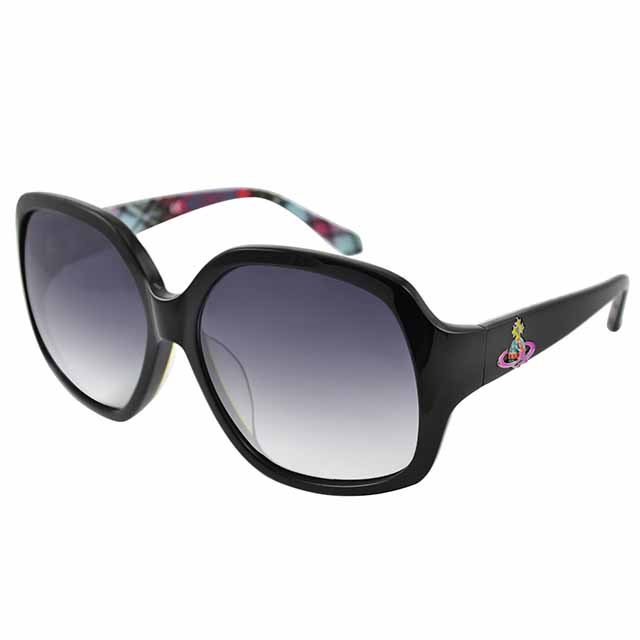 Vivienne Westwood 英國薇薇安魏斯伍德 復古不規則方太陽眼鏡(黑/格紋) VW746C01