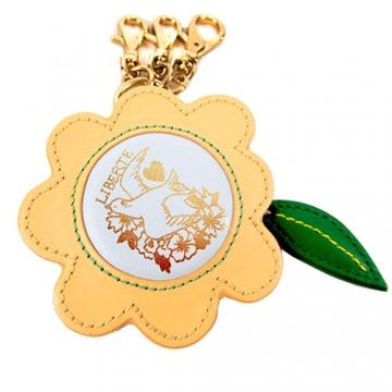 agnes b.花型皮革鑰匙圈 黃