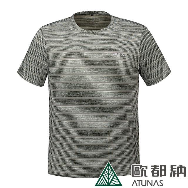 【ATUNAS 歐都納】男款ATUNAS-TEX短袖T恤(A1-T1805M軍綠條/防曬抗UV/休閒百搭/透氣舒適/吸溼排汗/快乾)