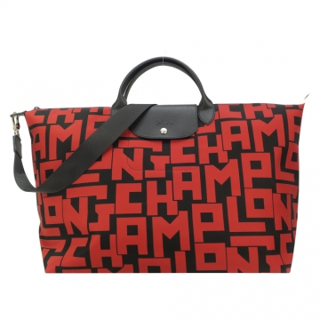 LONGCHAMP Le Pliage LGP系列滿版字母尼龍短把手提 斜背兩用旅行袋 大 黑 紅