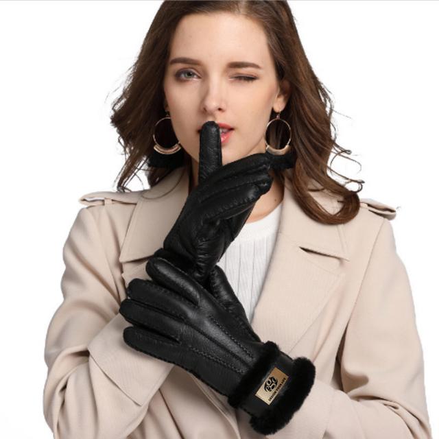 【ego life】羊皮皮毛一體女士保暖手套 共5色