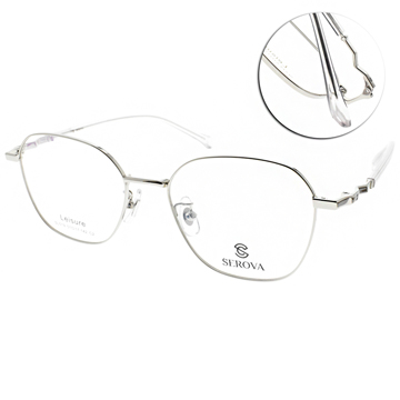 SEROVA 施洛華 眼鏡 中性韓風設計款 銀 透明 SE SL519 C2