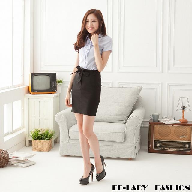 【EE-LADY】OL附腰帶前扣式短裙-