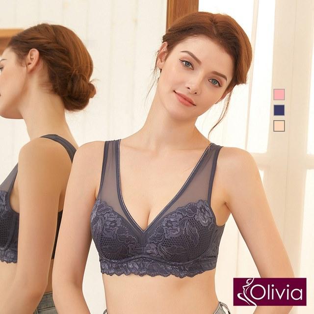 【Olivia】無鋼圈歐式古典蕾絲深V包覆內衣-灰藍