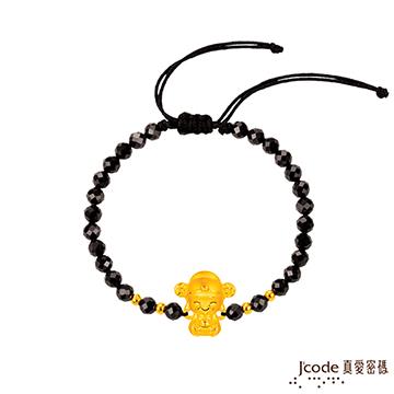 J'code真愛密碼  小萌佛-財神黃金尖晶石手鍊-立體硬金款