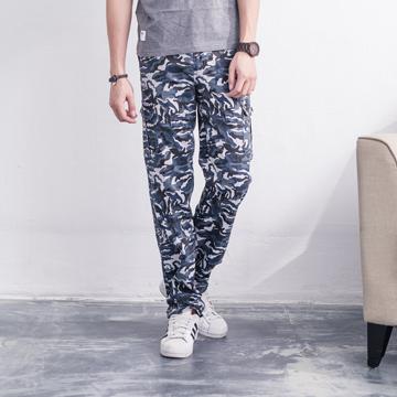 FATAN 迷彩藍白正統側口袋工作褲
