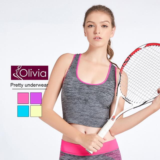 【Olivia】無鋼圈高彈力防震包覆加長運動內衣(粉色)