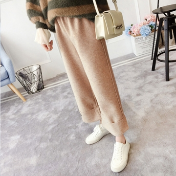 【韓國K.W.】KD1595 韓新品街頭休閒毛呢寬褲-卡其