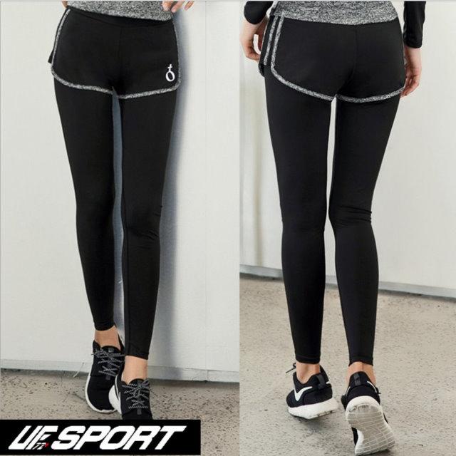 【UF72+】UF-W17121時尚高彈力女款速乾瑜珈輕壓假兩件運動褲/黑灰
