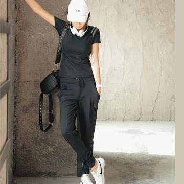 【狐狸姬】瑜珈服平民天后二件式運動衣速乾排汗瑜珈服(黑M-XL)