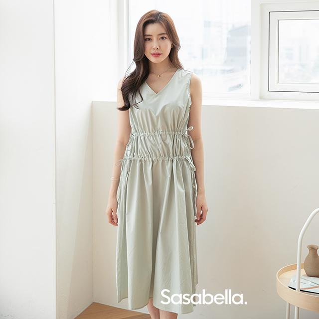 Sasa Bella 可調整素色洋裝-黃/綠