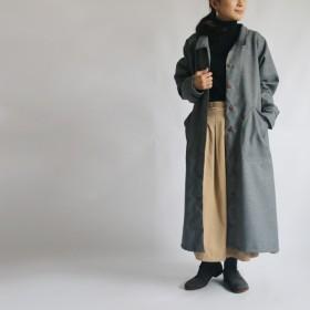ラスト2点●2020SALE● 110cm丈 上質 軽やか 素材でつくる ロング コート ワンピース 羽織り前開き後ろリボン B87