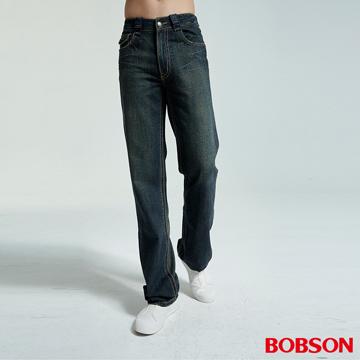 【BOBSON】男款配布中直筒牛仔褲(1706-77)