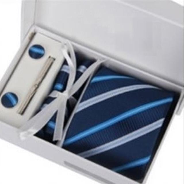 領帶手打領帶四件套-包含領帶夾袖扣方巾男配件父親節生日禮物16色69d7【巴黎精品】