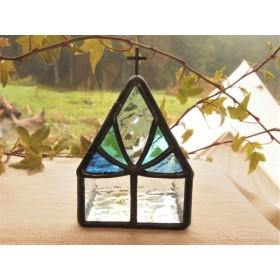 [Chapel] 聖夜に輝くサファイヤ : LEDキャンドル専用キャンドルホルダー・ステンドグラス