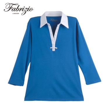 Fabrizio法比奇【My Confidence 。自信】非。正式 襯衫領雙色素面七分袖polo衫 - 天空藍