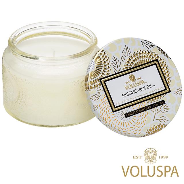 美國 VOLUSPA 日式庭園 Nissho Soleil 日光和煦 浮雕玻璃罐 香氛禮盒 90g