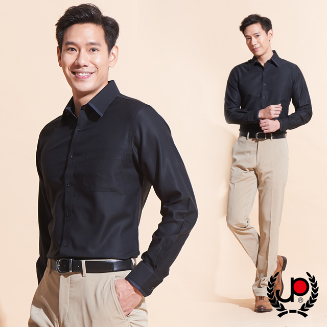 【極品西服】簡約義式修身版長袖襯衫_黑(SW605-88)